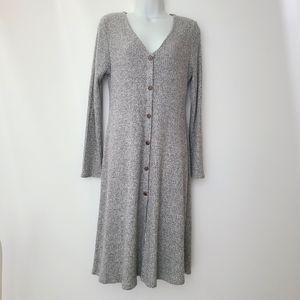 EUC Monteau Grey Super Soft Waffle Button Dress L